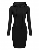 Black Slim Hooded Long Sleeve Pencil Hoodie Casual Dress