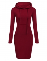 Red Slim Hooded Long Sleeve Pencil Hoodie Casual Dress