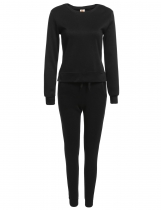 Black Solid Long Sleeve Sweatshirts with Pants Sportwear Set