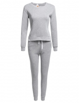 Gray Solid Long Sleeve Sweatshirts with Pants Sportwear Set