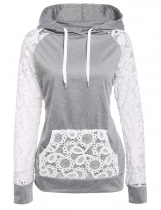 Sheer Lace Sleeve Hooded Pullover Sweatshirt Hoodie With Pockets