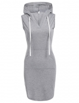 Gray Sleeveless Hooded Hoodie Sexy V Neck Casual Dress