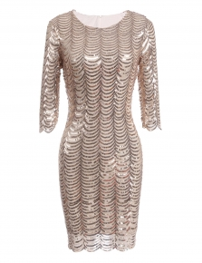 Apricot 3 4 Sleeve Fler Sequins Round Collar Vintage Styles Bodycon 1920s Club Party Dress
