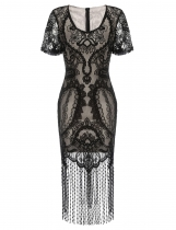 Black Short Sleeve 1920s V Neck Vintage Styles Lace Patchwork Flapper Fringe Party Dress