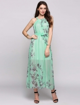 Pale Green Chiffon Sleeveless Halter Collar Belted Print Casual Dress With Lining