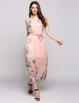 Pastel pink Chiffon Sleeveless Halter Collar Belted Print Casual Dress With Lining