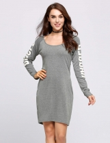 Grey Long Sleeve Scoop Collar Cut Out Back Graphic Dress