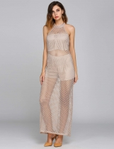 Apricot Halter Collar Sleeveless Fishnet Dress With Lining