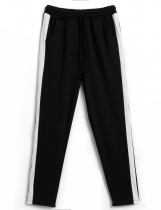 Black Contrast Color Elastic Waist Harem Pants