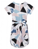 Short Sleeve Geometric Loose Belted Dress