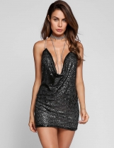 Black Halter Chain Collar Backless Sequined Bodycon Dress