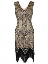 1920s Style Beaded Sequined Deco Fringe Flapper Gatsby Dress