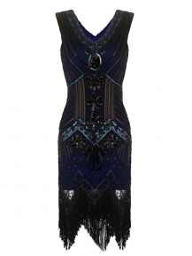 55a27455b0 1920s Style Beaded Sequined Deco Fringe Flapper Gatsby Dress. S; M; L; XL;  XXL; XXXL