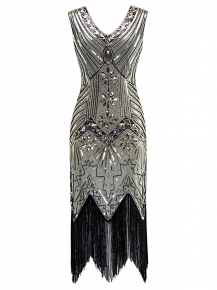 1920s Style Beaded Sequined Deco Fringe Flapper Gatsby Dress 3f6d5ce5f24a