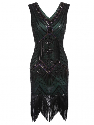 7986da8b 1920s Style Flapper Sequined Dress
