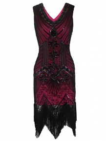 ede699ef04f 1920s Style Beaded Sequined Deco Fringe Flapper Gatsby Dress