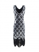 1920s Style V-Neck Sleeveless Sequined Flapper Dress