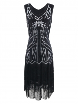 1920s Style Sequined Fringe V-Neck Sleeveless Flapper Dress