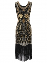 1920s Style Beading Fringe Scoop Sleeveless Flapper Dress