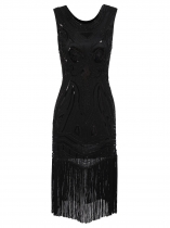 Estilo dos anos 1920 Beading Fringe Scoop Sleeveless Flapper Dress