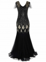 Mulheres 1920 Estilo Vintage V-Neck Cap Sleeve Sequin Evening Party Maxi Dress
