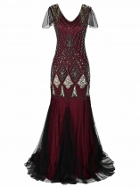 Women 1920s Vintage Style V-Neck Cap Sleeve Sequin Evening Party Maxi Dress