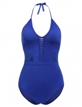 Blue Solid Halter Hollow Out Bandage One-Piece Swimwear