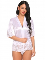 White Femmes Satin Lace Half Manches Ouvert Front Up Sexy Robes Lingerie Set