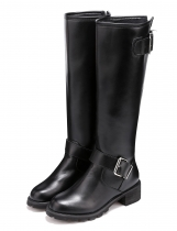 Women High Upper Round Toe Buckle Decor Mid Calf Boot