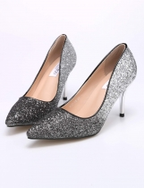 Silver High Heel Pointed Toe Pumps Womens Shoes Gradient Sequined Bride