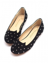 Black Fashion Solid Studded Round Toe Ballet appartements pour les talons de femme