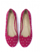 Rose Red Fashion Solid Studded Round Toe Ballet flats para mulher saltos