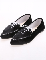 Black Casual Lint Flat Point Toe Solid Loafer Shoes