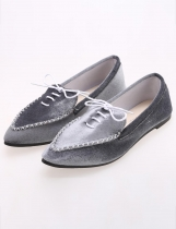 Gray Casual Lint Flat Point Toe Solid Loafer Shoes