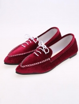 Vermelho Casual Lint Flat Point Toe Solid Loafer Shoes