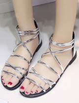 Silver Stud Detail Cross Strap Back Zipper Roman Flat Sandals