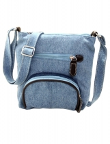Light blue Canvas Front Pocket Crossbody Bags