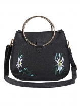 Black Round Metal Handle Floral Embroidery Cross-body Bags
