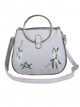 Gray Round Metal Handle Floral Embroidery Cross-body Bags