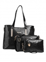 Crocodile Print Clutch Shoulder Bag Handbag 3pcs Set