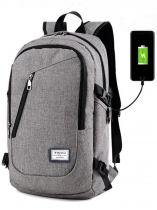Grey Water Resistant Polyester Lightweight School Backpack Laptop Travel Bag with USB Charging Port