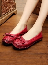 Red Socofy Women Genuine Leather Handmade Shoes Soft Bow Slip-on Loafers Moccasin Flats