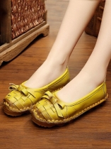 Yellow Socofy Women Genuine Leather Handmade Shoes Soft Bow Slip-on Loafers Moccasin Flats