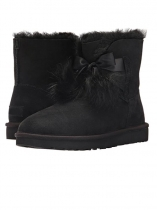 Black Suede Pom-Pom Ankle Length Gita Snow Boots