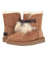 Brown Suede Pom-Pom Ankle Length Gita Snow Boots