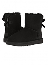 Černá Women Winter Fashion Suede Back Bow Snow Boots Ankle Length