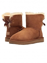 Brown Suede Back Mini Bailey Bow Ankle Length Snow Boots