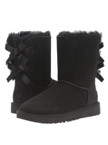 Black Suede Back Bailey Bow Calf Length Snow Boots