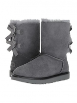 Gray Suede Back Bailey Bow Calf Length Snow Boots