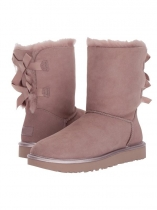 Pink Suede Back Bailey Bow Calf Length Snow Boots